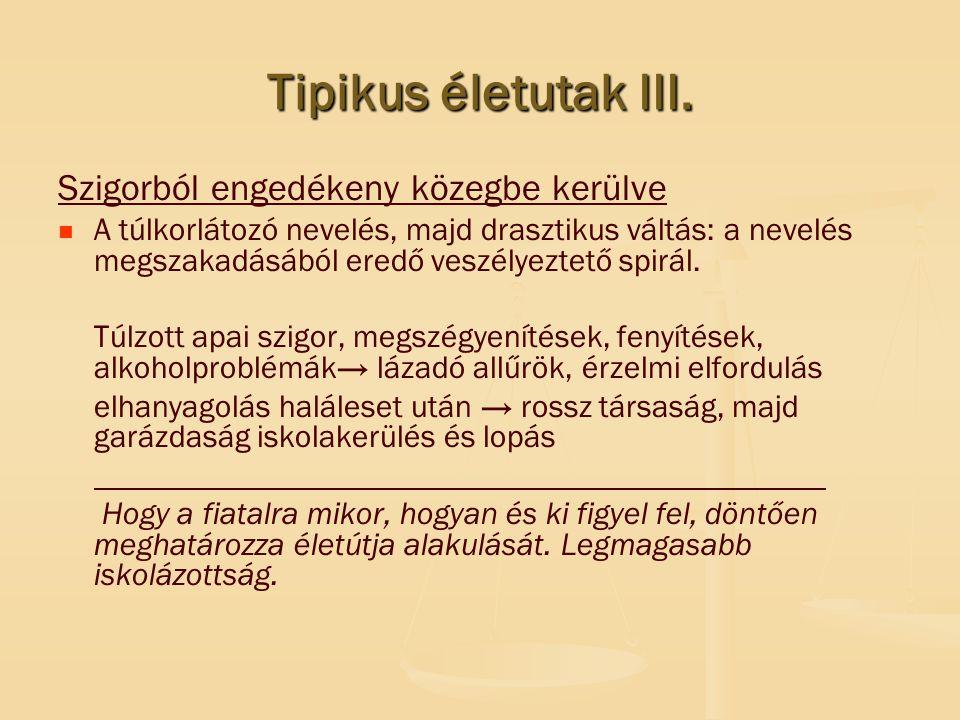 Tipikus életutak III. Szigorból engedékeny közegbe kerülve