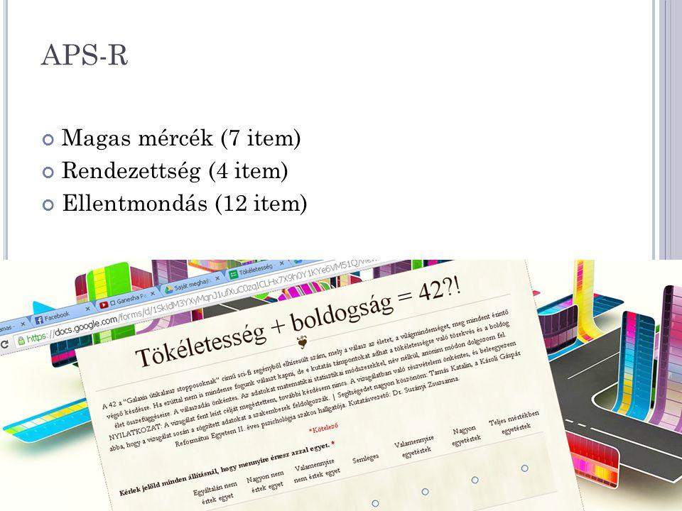 APS-R Magas mércék (7 item) Rendezettség (4 item)