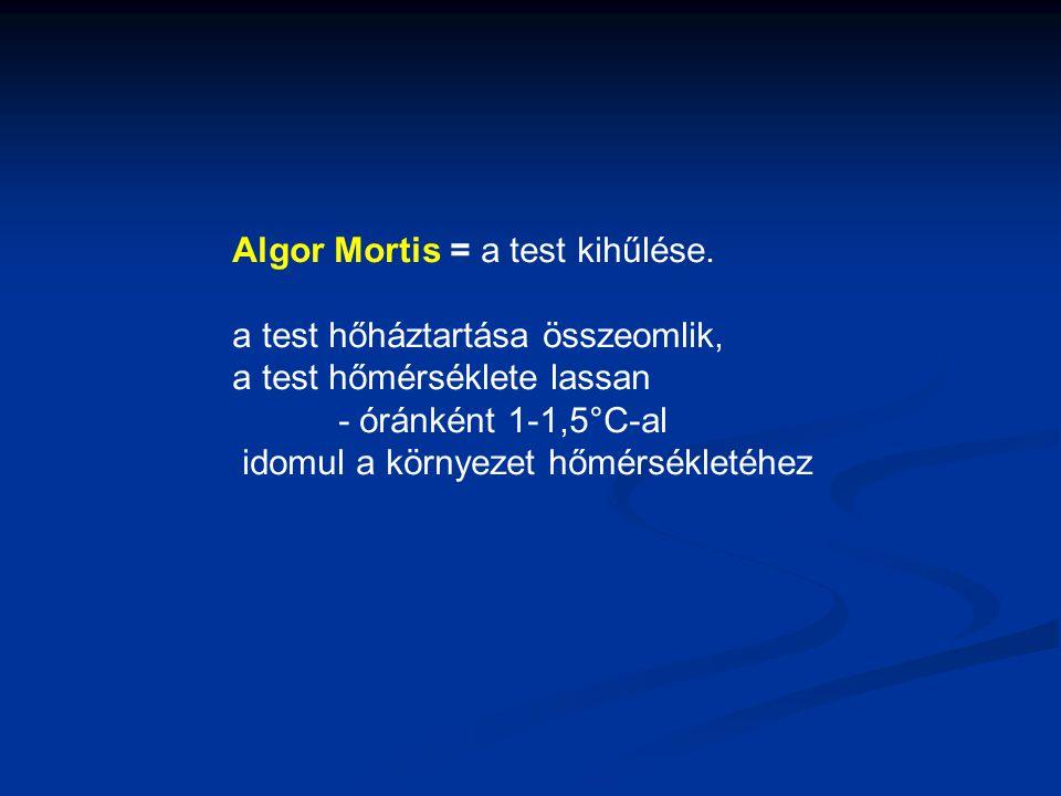 Algor Mortis = a test kihűlése.