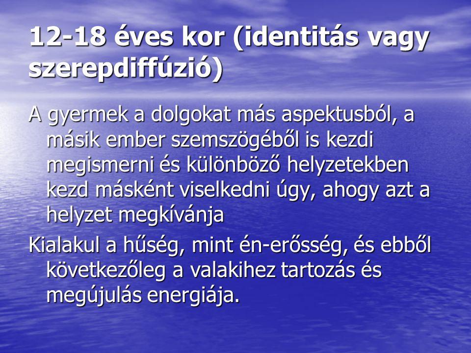 12-18 éves kor (identitás vagy szerepdiffúzió)