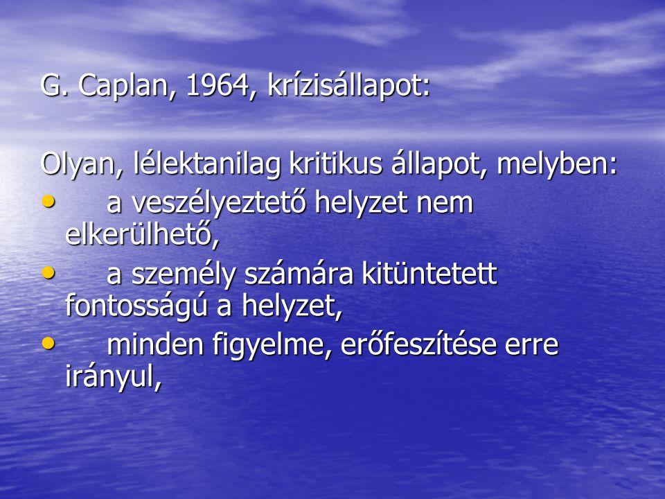 G. Caplan, 1964, krízisállapot: