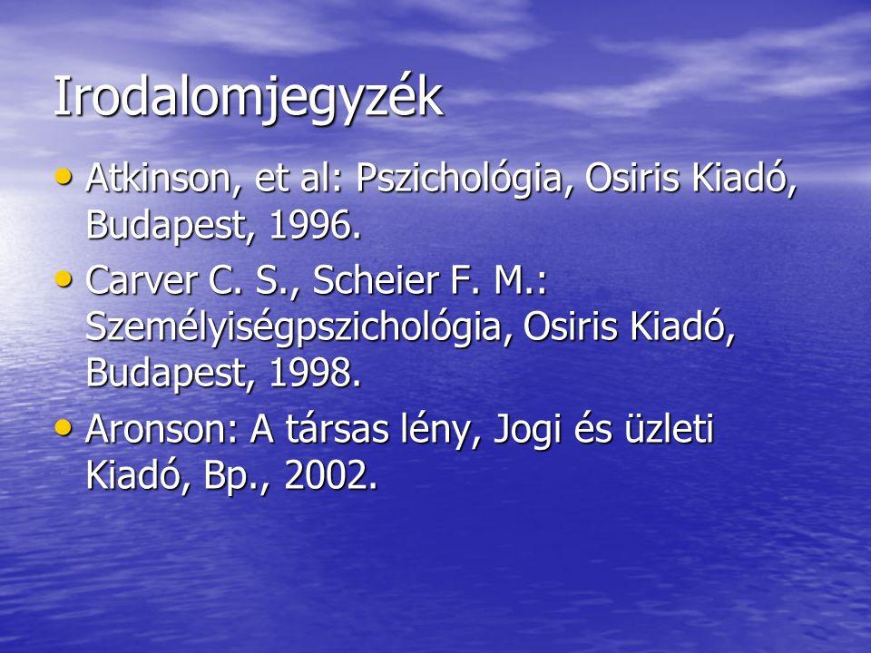 Irodalomjegyzék Atkinson, et al: Pszichológia, Osiris Kiadó, Budapest, 1996.