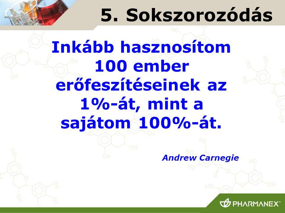5. Sokszorozódás Inkább hasznosítom 100 ember erőfeszítéseinek az 1%-át, mint a sajátom 100%-át.