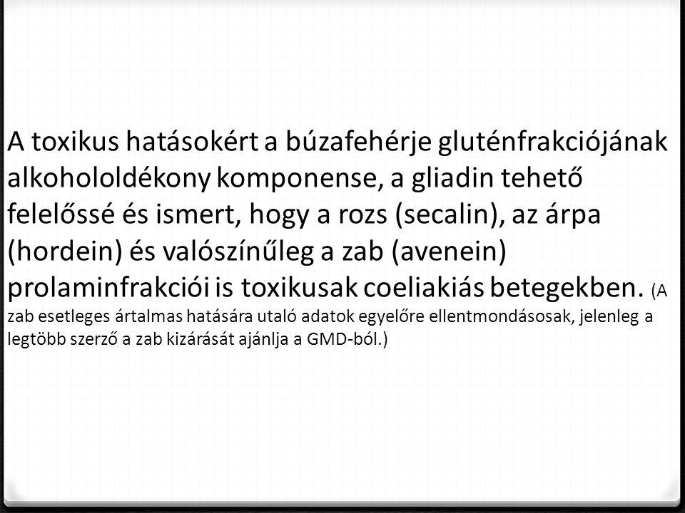 A toxikus hatásokért a búzafehérje gluténfrakciójának alkohololdékony komponense, a gliadin tehető felelőssé és ismert, hogy a rozs (secalin), az árpa (hordein) és valószínűleg a zab (avenein) prolaminfrakciói is toxikusak coeliakiás betegekben.