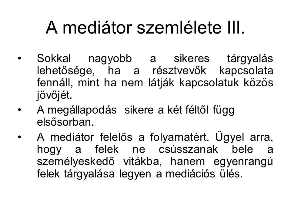 A mediátor szemlélete III.