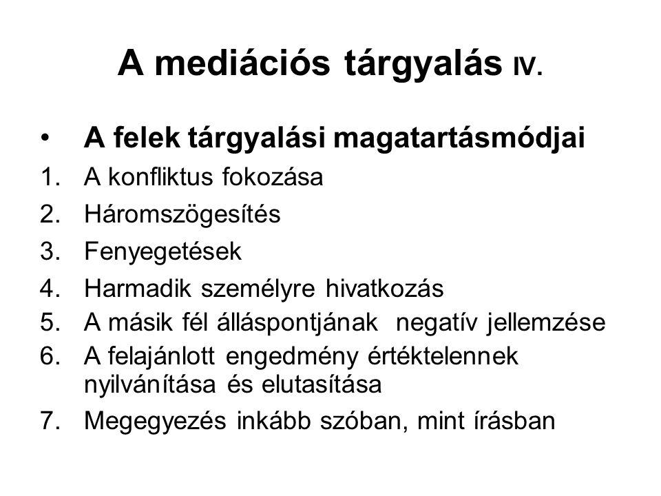 A mediációs tárgyalás IV.