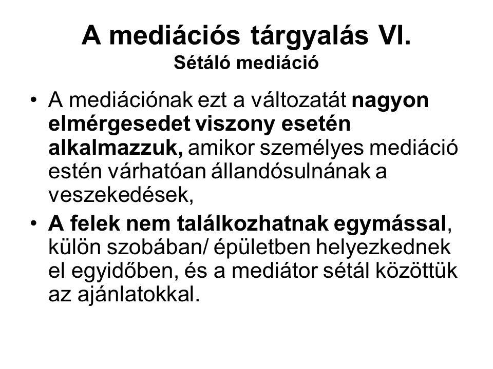 A mediációs tárgyalás VI. Sétáló mediáció