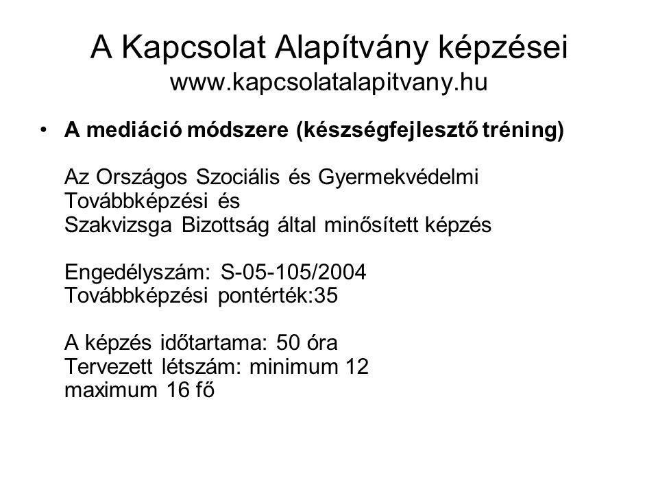 A Kapcsolat Alapítvány képzései www.kapcsolatalapitvany.hu