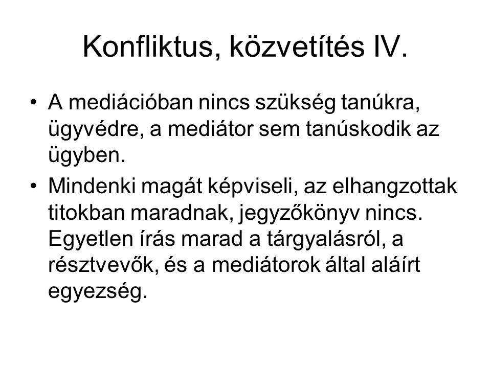 Konfliktus, közvetítés IV.