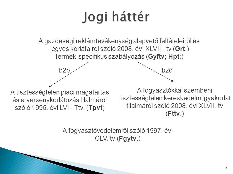 Jogi háttér A gazdasági reklámtevékenység alapvető feltételeiről és egyes korlátairól szóló 2008. évi XLVIII. tv (Grt.)