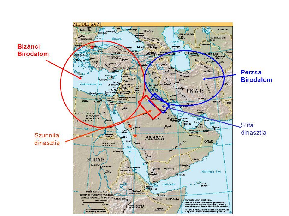 * • * Bizánci Birodalom Perzsa Birodalom Síita dinasztia Szunnita