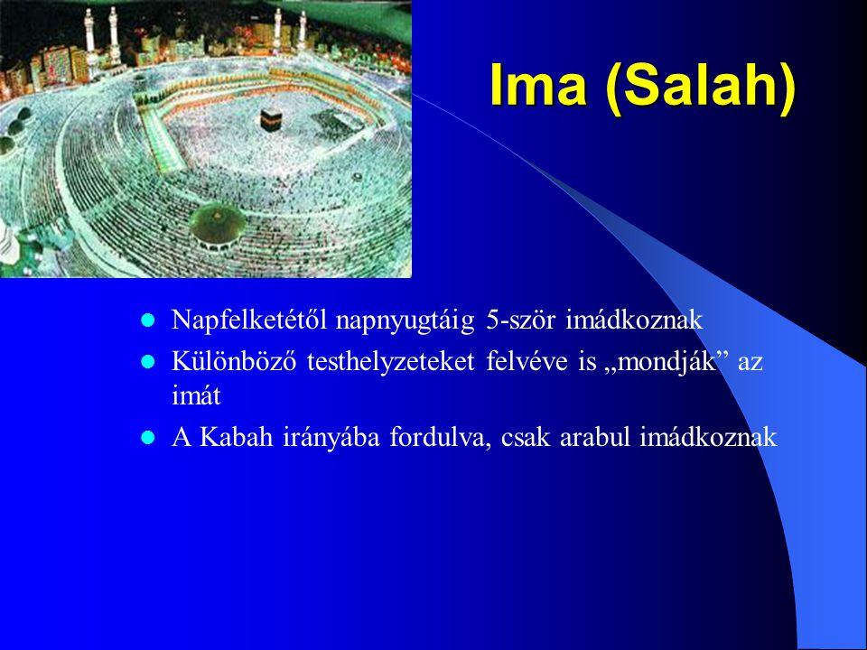 Ima (Salah) Napfelketétől napnyugtáig 5-ször imádkoznak