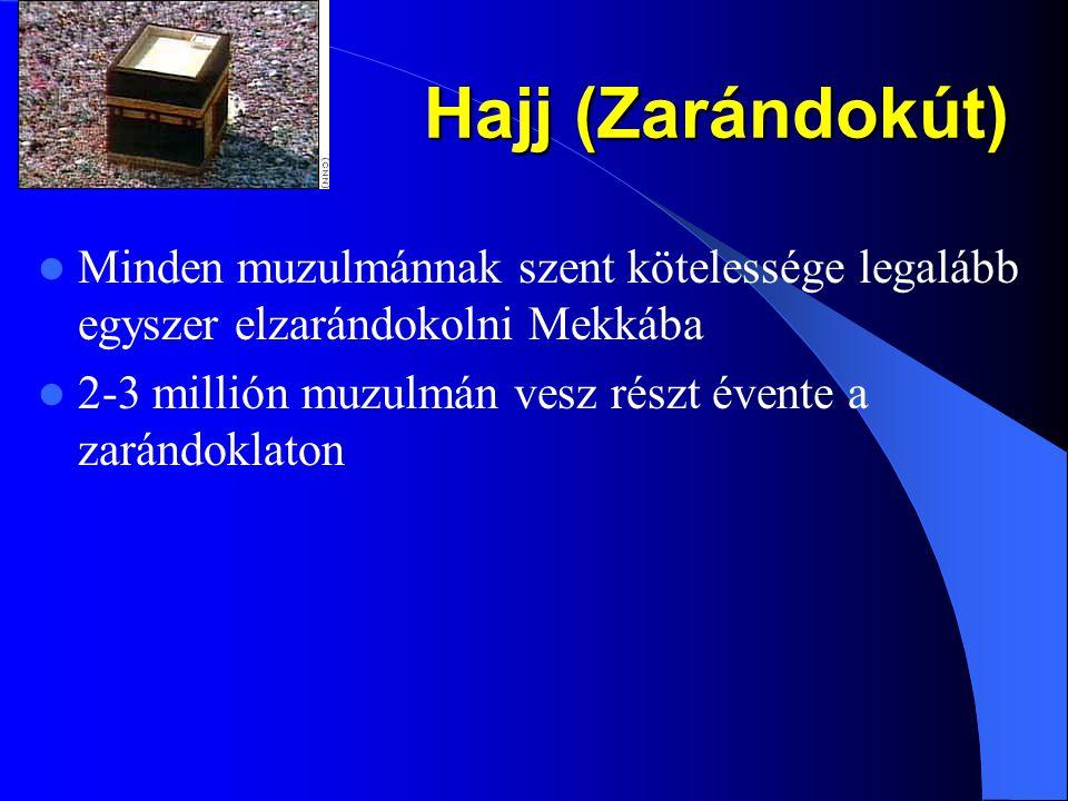 Hajj (Zarándokút) Minden muzulmánnak szent kötelessége legalább egyszer elzarándokolni Mekkába.