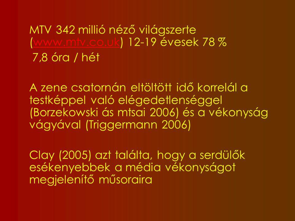 MTV 342 millió néző világszerte (www.mtv.co.uk) 12-19 évesek 78 %