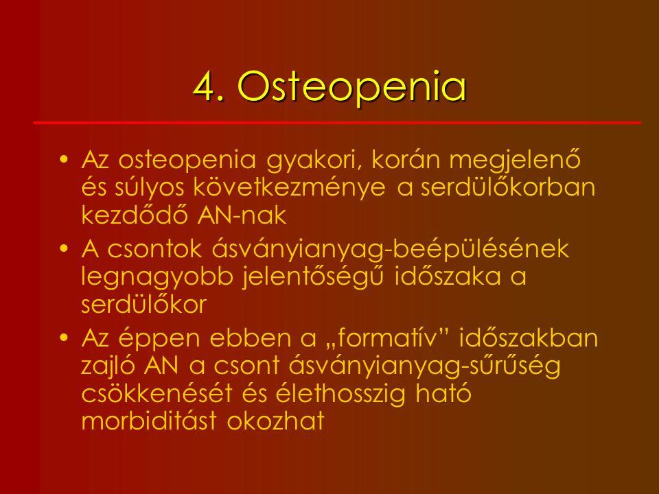 4. Osteopenia Az osteopenia gyakori, korán megjelenő és súlyos következménye a serdülőkorban kezdődő AN-nak.