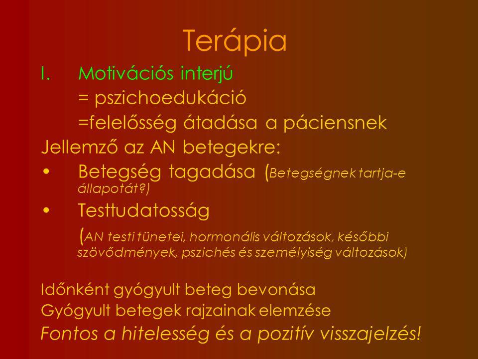 Terápia Motivációs interjú = pszichoedukáció