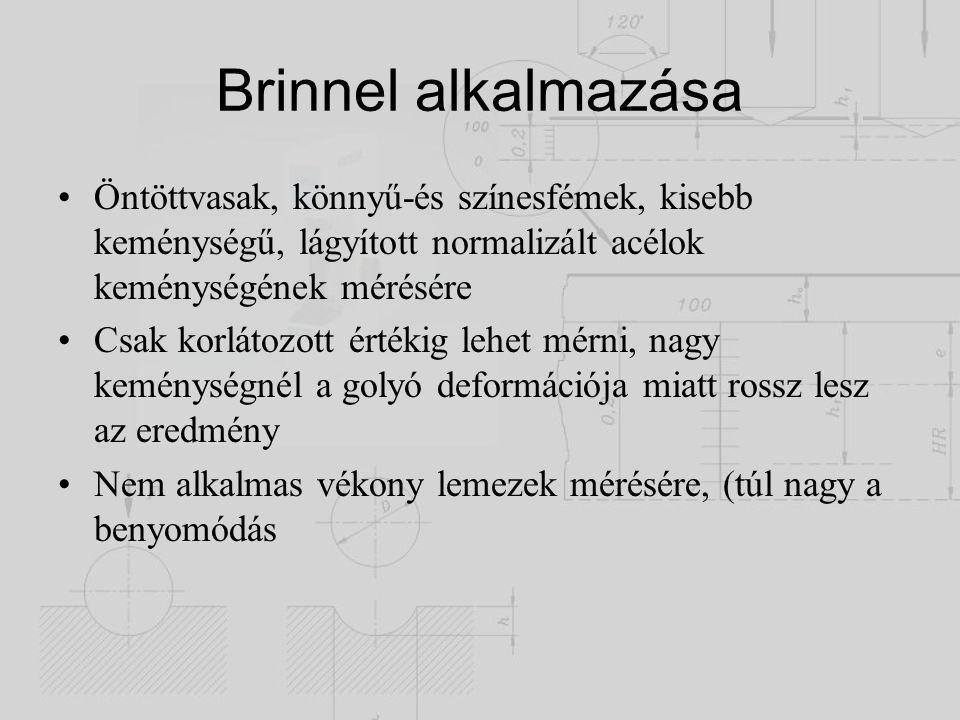 Brinnel alkalmazása Öntöttvasak, könnyű-és színesfémek, kisebb keménységű, lágyított normalizált acélok keménységének mérésére.