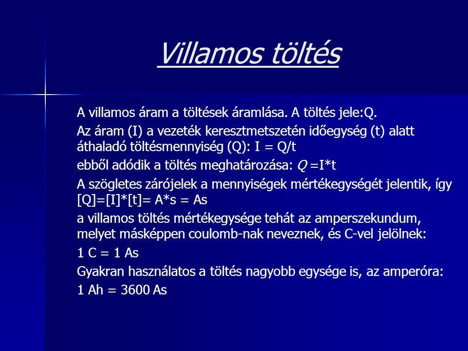 Villamos töltés A villamos áram a töltések áramlása. A töltés jele:Q.