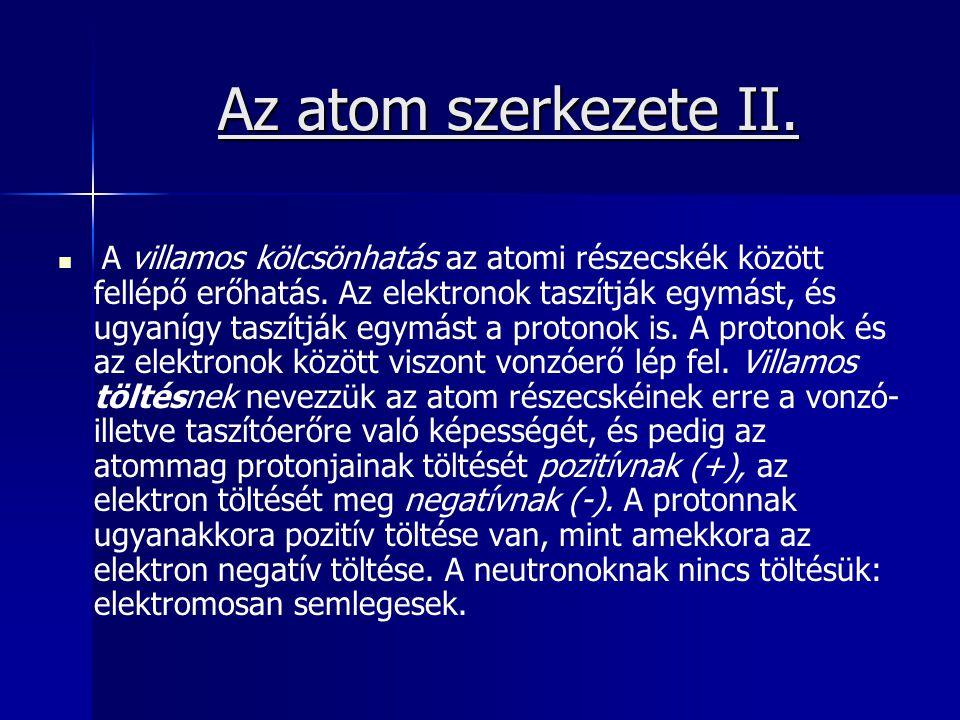 Az atom szerkezete II.