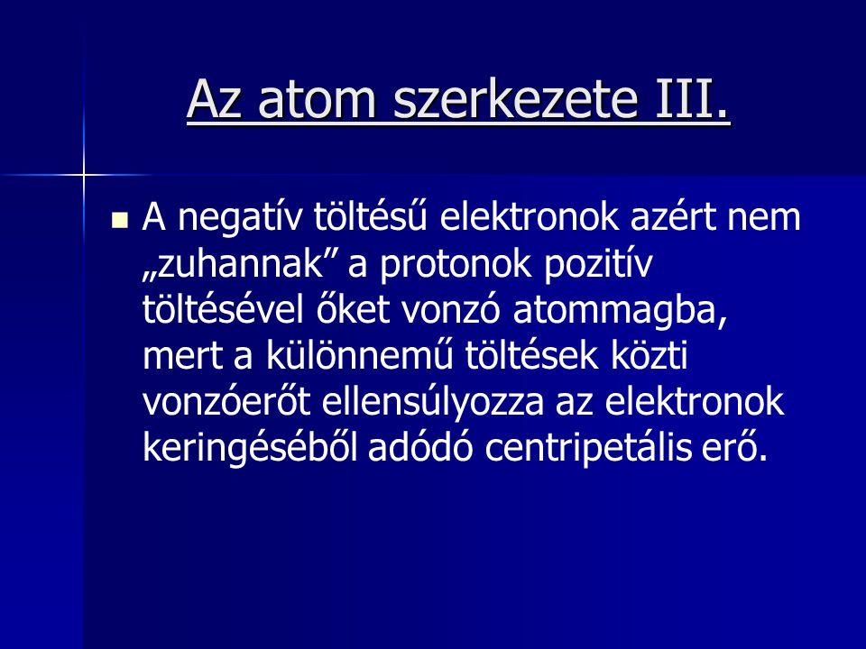Az atom szerkezete III.