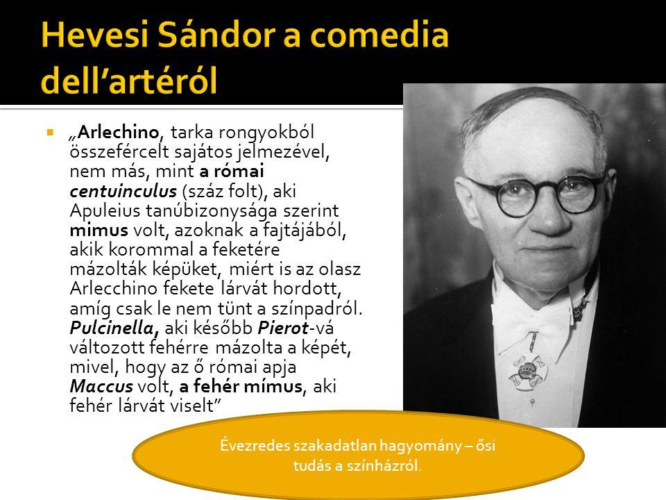 Hevesi Sándor a comedia dell'artéról