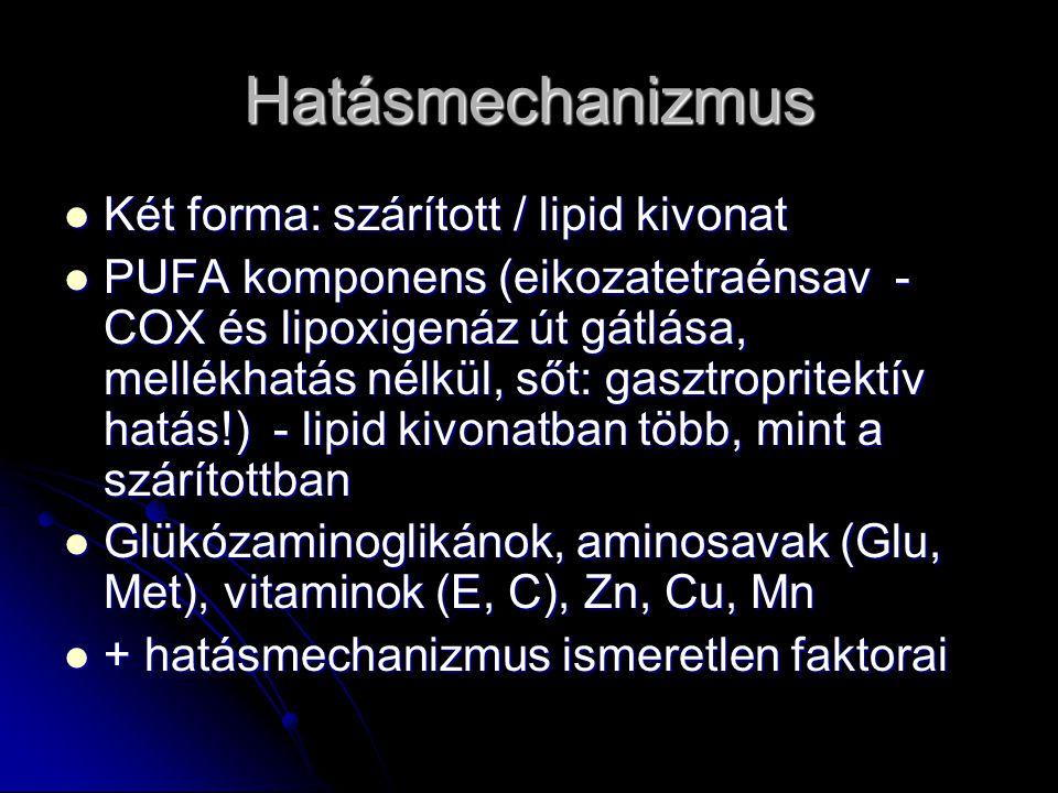 Hatásmechanizmus Két forma: szárított / lipid kivonat