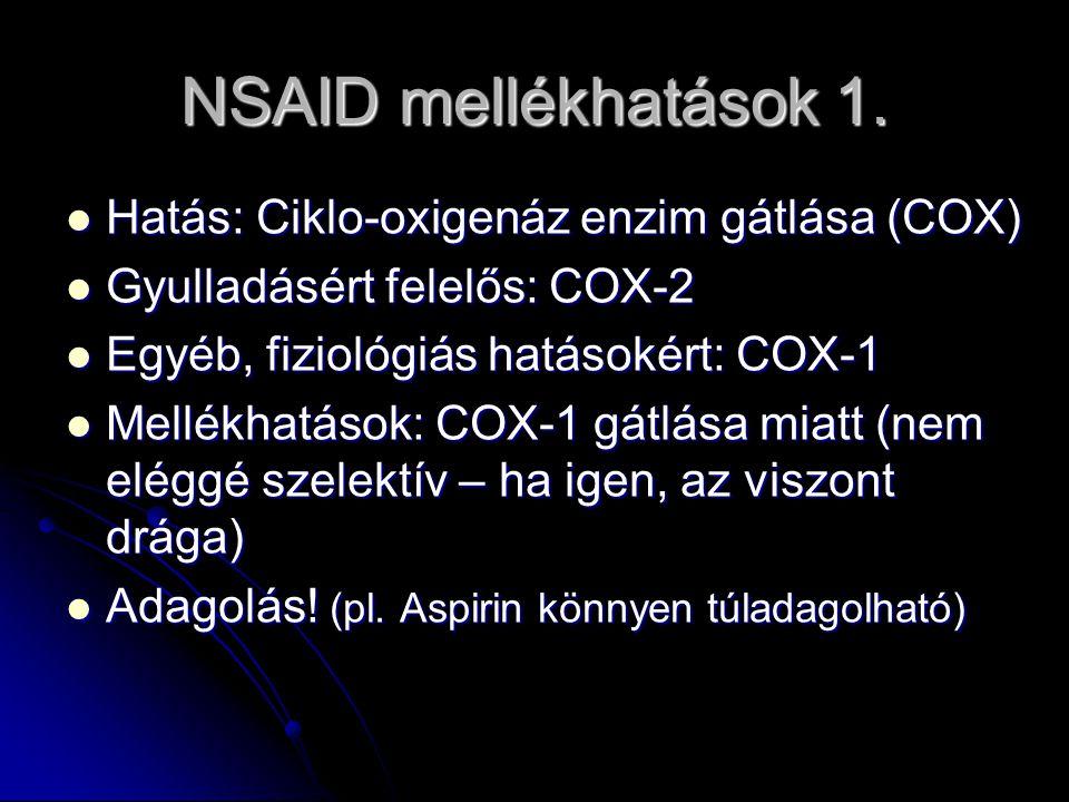 NSAID mellékhatások 1. Hatás: Ciklo-oxigenáz enzim gátlása (COX)