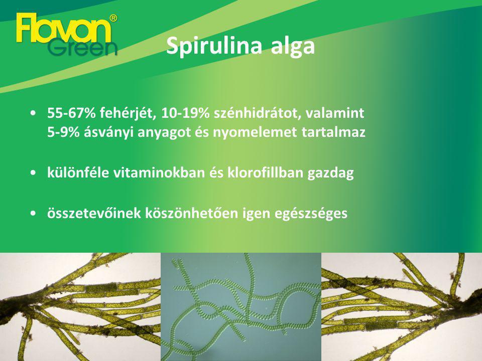 Spirulina alga 55-67% fehérjét, 10-19% szénhidrátot, valamint 5-9% ásványi anyagot és nyomelemet tartalmaz.