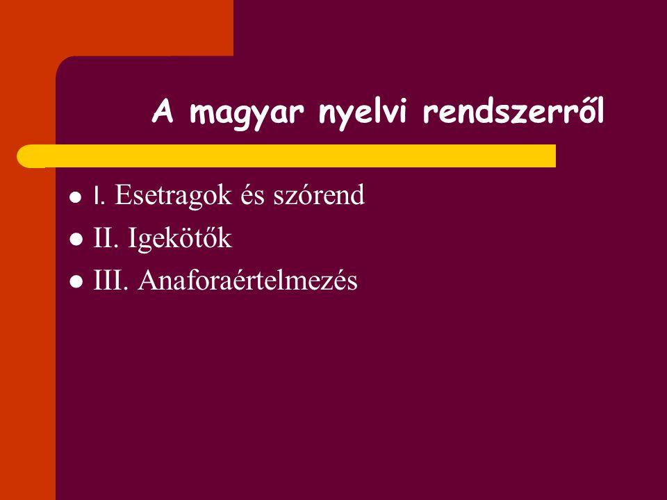 A magyar nyelvi rendszerről