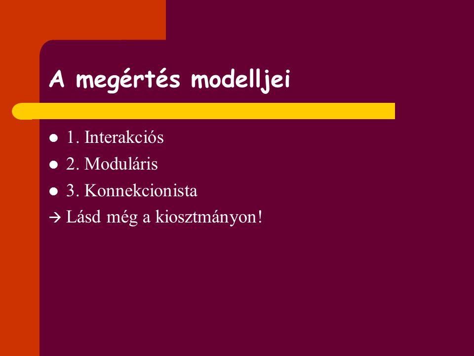 A megértés modelljei 1. Interakciós 2. Moduláris 3. Konnekcionista