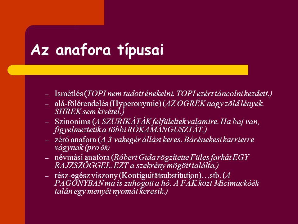 Az anafora típusai Ismétlés (TOPI nem tudott énekelni. TOPI ezért táncolni kezdett.)