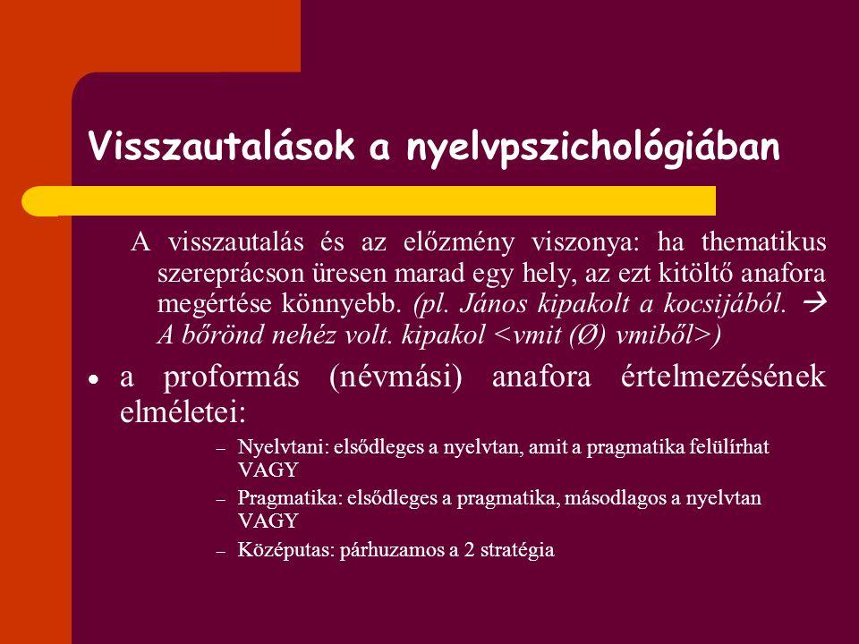 Visszautalások a nyelvpszichológiában