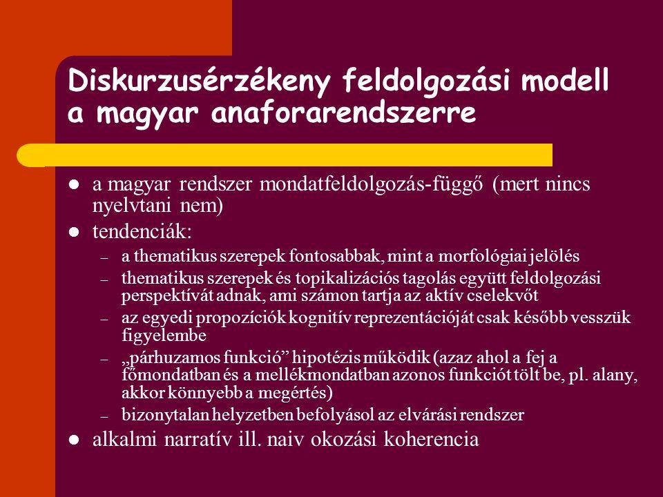 Diskurzusérzékeny feldolgozási modell a magyar anaforarendszerre