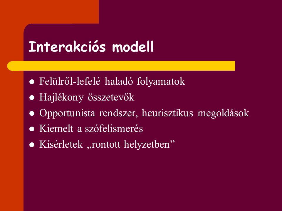 Interakciós modell Felülről-lefelé haladó folyamatok