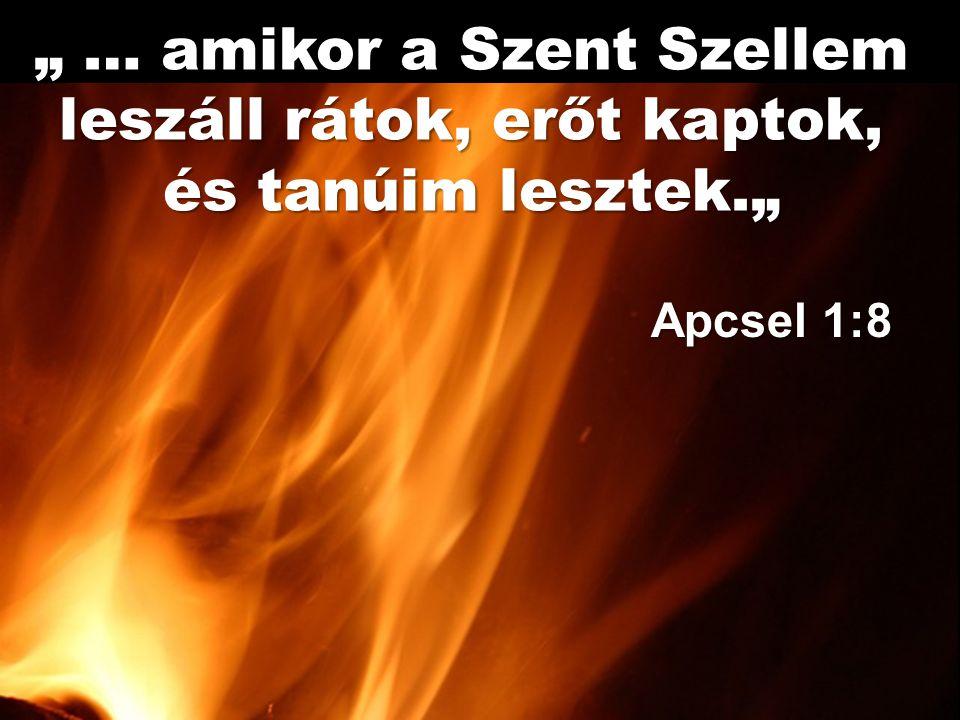 """"""" … amikor a Szent Szellem leszáll rátok, erőt kaptok,"""