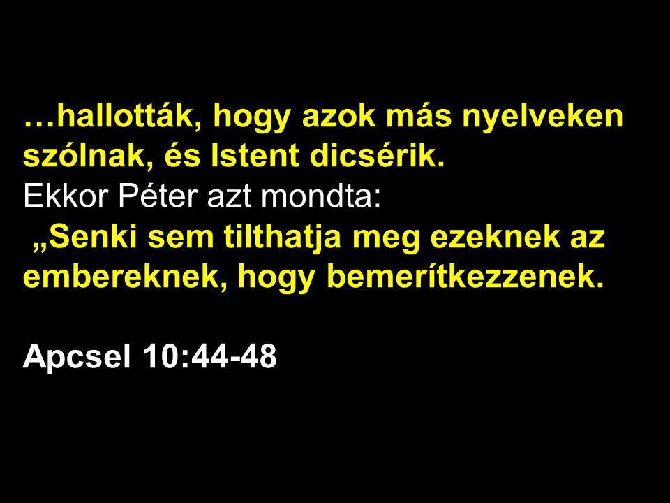 …hallották, hogy azok más nyelveken szólnak, és Istent dicsérik.