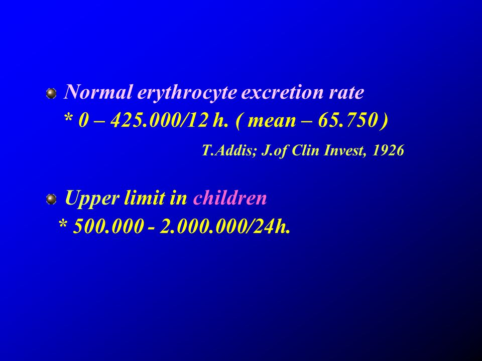 Normal erythrocyte excretion rate