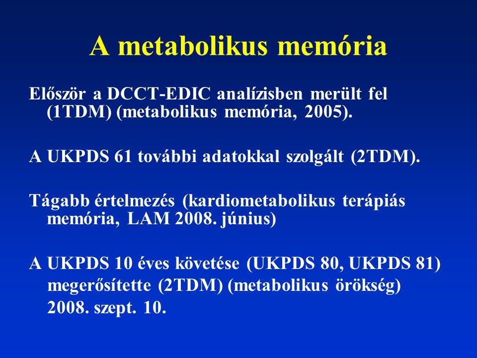 A metabolikus memória Először a DCCT-EDIC analízisben merült fel (1TDM) (metabolikus memória, 2005).