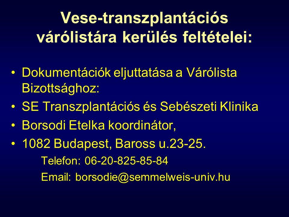 Vese-transzplantációs várólistára kerülés feltételei: