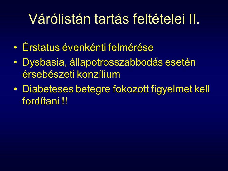 Várólistán tartás feltételei II.