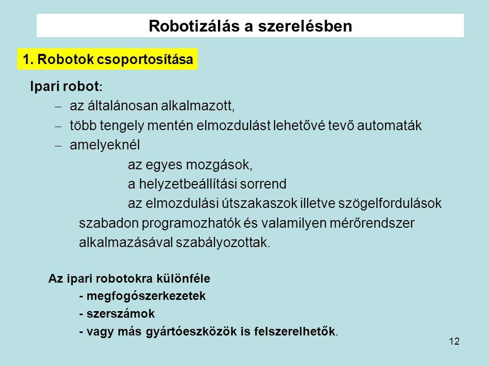 Robotizálás a szerelésben