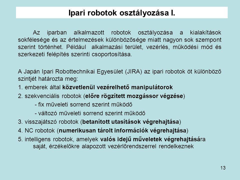 Ipari robotok osztályozása I.