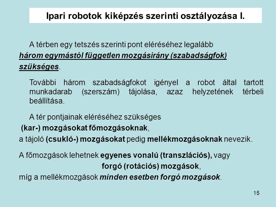 Ipari robotok kiképzés szerinti osztályozása I.