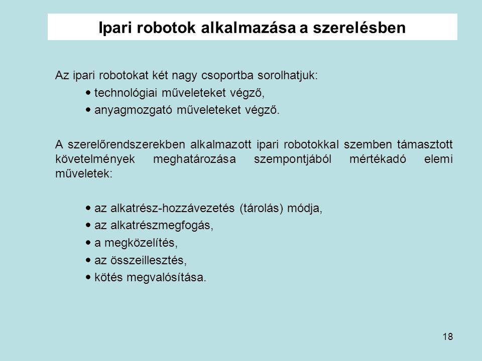 Ipari robotok alkalmazása a szerelésben