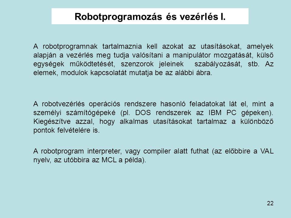 Robotprogramozás és vezérlés I.