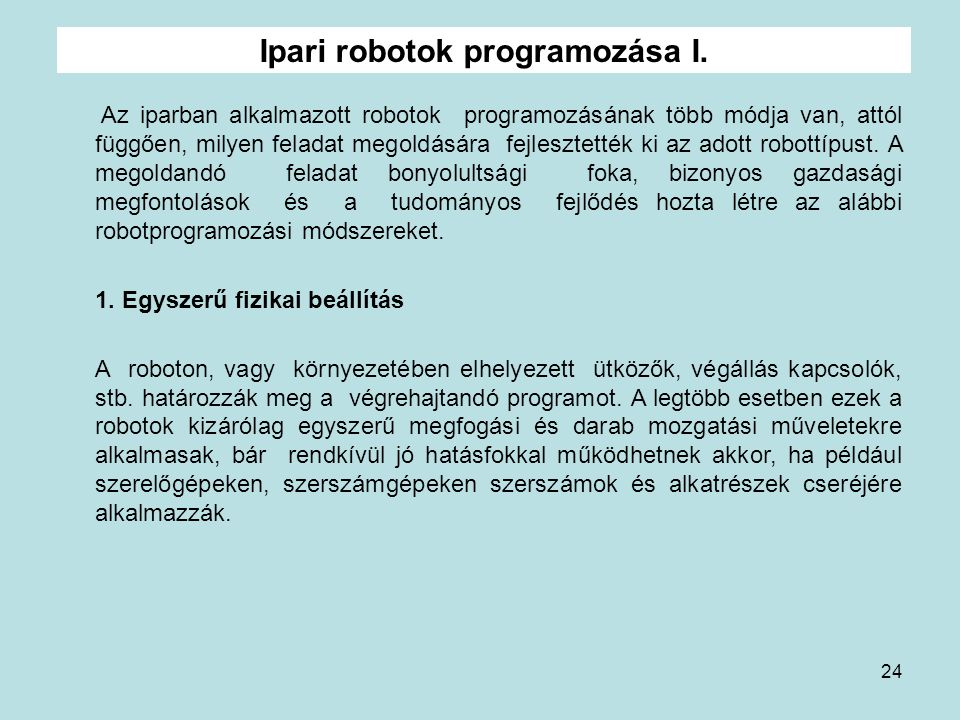 Ipari robotok programozása I.
