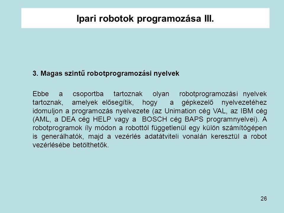 Ipari robotok programozása III.