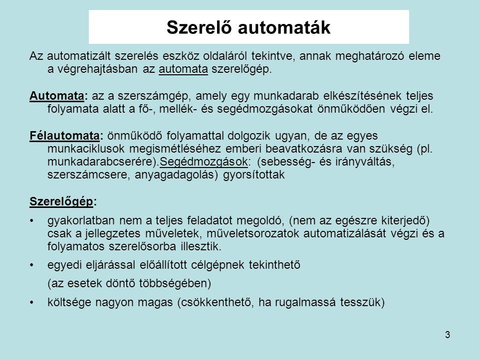 Szerelő automaták Az automatizált szerelés eszköz oldaláról tekintve, annak meghatározó eleme a végrehajtásban az automata szerelőgép.