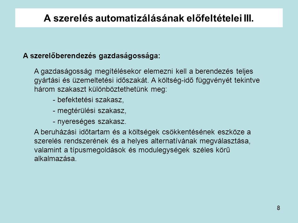 A szerelés automatizálásának előfeltételei III.
