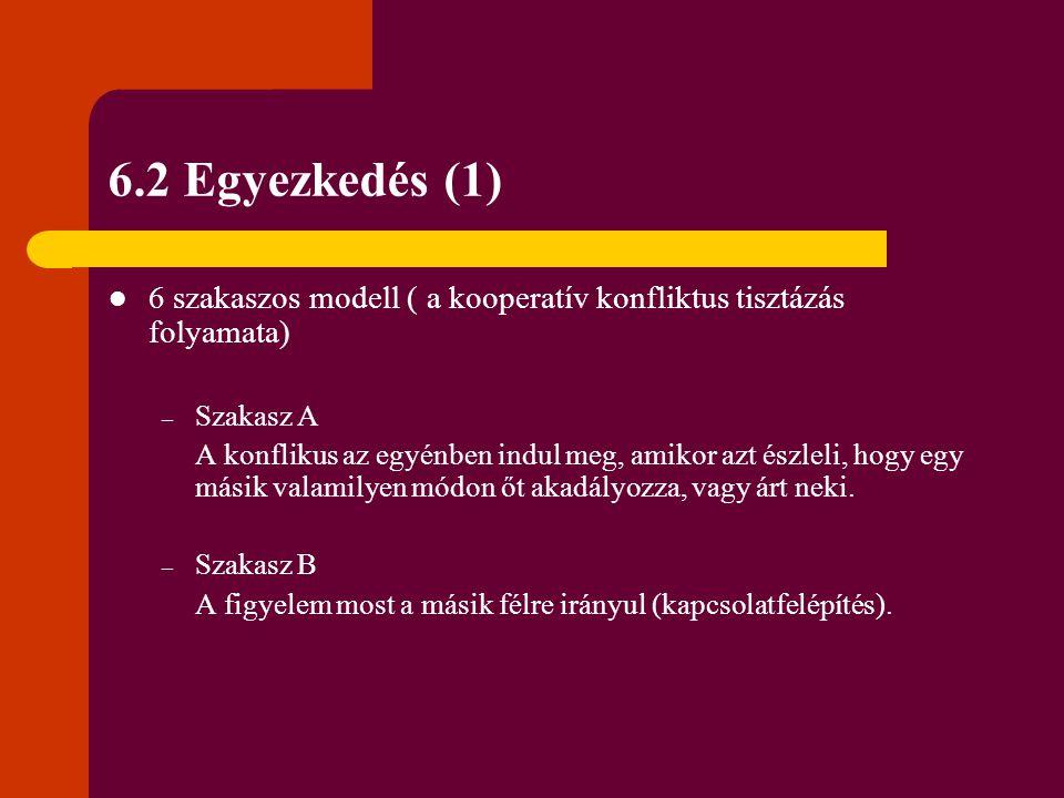 6.2 Egyezkedés (1) 6 szakaszos modell ( a kooperatív konfliktus tisztázás folyamata) Szakasz A.